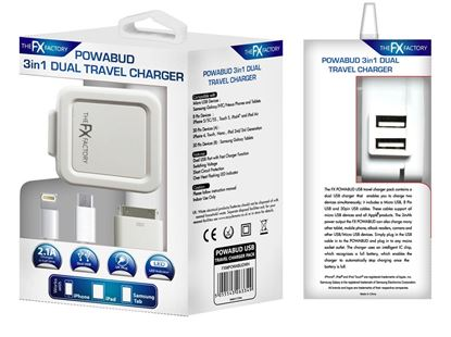 3 in 1 Dual Port Travel Charger 2.1 Amp